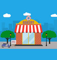 bakery shop building with signboard with donut vector image vector image