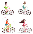 Beautiful girls are riding on bicycles vector image vector image