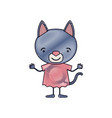 color crayon silhouette caricature of cute cat in vector image vector image