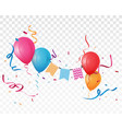 colorful birthday balloon and confetti vector image vector image