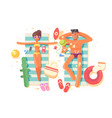 couple man and woman resting on beach vector image vector image