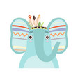 cute elephant animal wearing indian traditional vector image