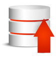 cylinder with red upload arrow vector image