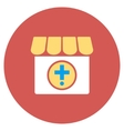 Drugstore Flat Round Icon vector image vector image
