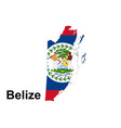 flag belize on map and map with regional