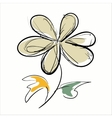 flower hand drawn on white background vector image vector image