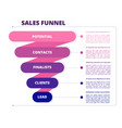 funnel sales marketing business symbols leads vector image vector image