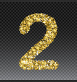 gold glittering number two shining golden vector image vector image