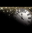 gold shiny 2019 new year background with clock vector image vector image