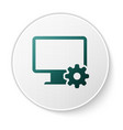 Green computer monitor and gear icon isolated on