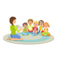 group of small kids sitting around the teacher on vector image vector image