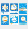 happy hanukkah set of greeting cards flyer vector image vector image