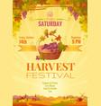 harvest festival poster vineyard autumn landscape vector image vector image