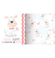 hello cute puppy - seamless pattern vector image