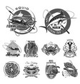 icons set for fishing or fisher trip vector image vector image