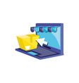 laptop computer with box and parasol vector image vector image