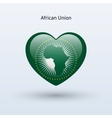 Love African Union symbol Heart flag icon vector image vector image