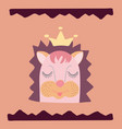lovely hedgehog in a crown and a hand-drawn wavy vector image vector image
