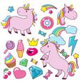 magic cute unicorns bahorses character vector image vector image