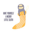 merry christmas card with funny sloth vector image
