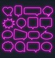 neon pink speech bubble frame on a transparent vector image vector image