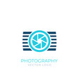 photography logo with camera vector image vector image