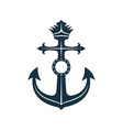 royal anchor with label nautical symbol vector image
