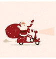 Santa goes with gifts on a moped vector image vector image