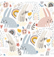 seamless childish modern pattern with cute hand vector image