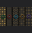 set black and gold seamless islamic patterns vector image vector image