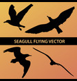set of silhouette seagull flying 4 in 1 on sunset vector image vector image