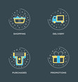 shopping delivery purchases promotion set of 4 vector image