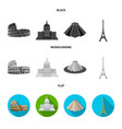 sights of different countries black flat vector image vector image