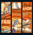 sketch banners old vintage books shoop vector image