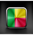 Square button series - Benin flag national travel vector image