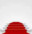 Stairs covered with red carpet isolated vector image