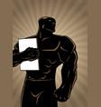 superhero holding book ray light vector image vector image