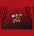 teather stage with red heavy curtain with golden vector image