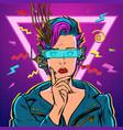 thinker vr glasses woman gamer virtual reality vector image