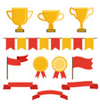 trophy icon set in flat style vector image vector image