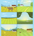 village landscapes farm field vector image