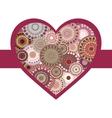 Vintage bright colorful heart crimson ribbon vector image