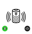 voice assistant icon wireless speaker line symbol vector image