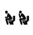 wc funny symbol man sitting on toilet vector image