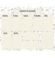 weekly planner page template design for autumn vector image