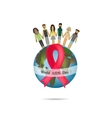 World AIDS Day Globe with red ribbon People hold vector image vector image