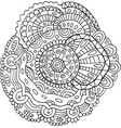 flower mandala - doodle coloring page for adults vector image