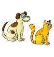Cute happy cartoon cat and dog pets vector image