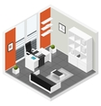 Home offices room isometric icon set vector image