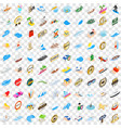 100 boat icons set isometric 3d style vector image vector image
